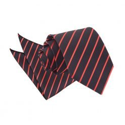 Black & Red Single Stripe Tie & Pocket Square Set