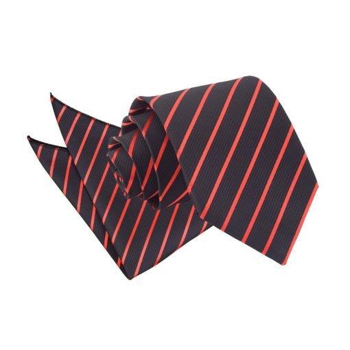 Black & Red Single Stripe Tie & Pocket Square Set