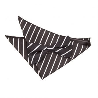 Black & White Single Stripe Bow Tie & Pocket Square Set