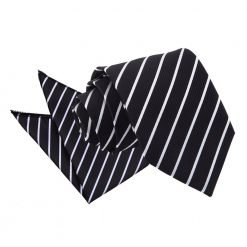 Black & White Single Stripe Tie & Pocket Square Set