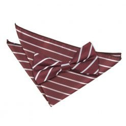 Burgundy & Silver Single Stripe Bow Tie & Pocket Square Set