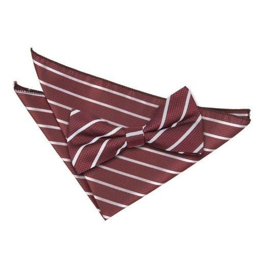 Burgundy & Silver Single Stripe Bow Tie & Pocket Square Set