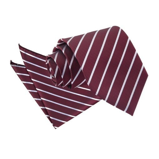 Burgundy & Silver Single Stripe Tie & Pocket Square Set