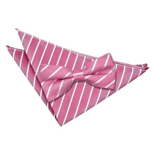 Hot Pink & White Single Stripe Bow Tie & Pocket Square Set