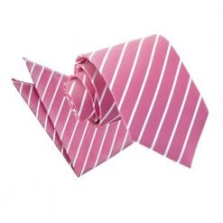 Hot Pink & White Single Stripe Tie & Pocket Square Set
