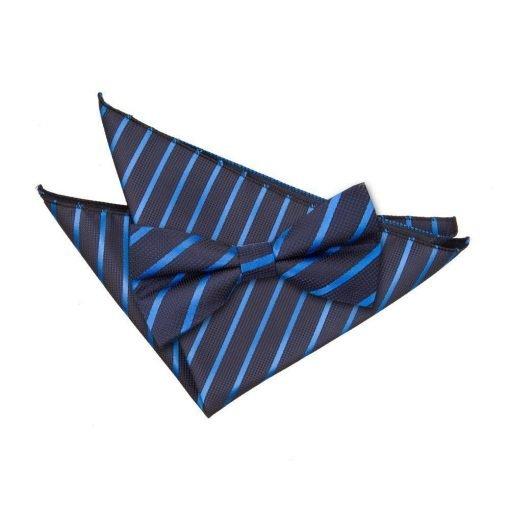 Navy & Mid Blue Single Stripe Bow Tie & Pocket Square Set