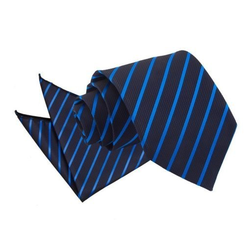 Navy & Mid Blue Single Stripe Tie & Pocket Square Set