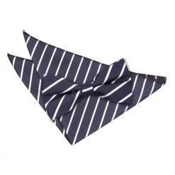 Navy & White Single Stripe Bow Tie & Pocket Square Set