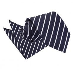 Navy & White Single Stripe Tie & Pocket Square Set