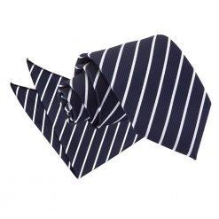 Navy & White Single Stripe Tie & Pocket Square Set