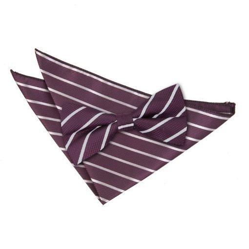 Purple & Silver Single Stripe Bow Tie & Pocket Square Set