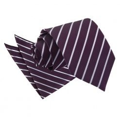 Purple & Silver Single Stripe Tie & Pocket Square Set