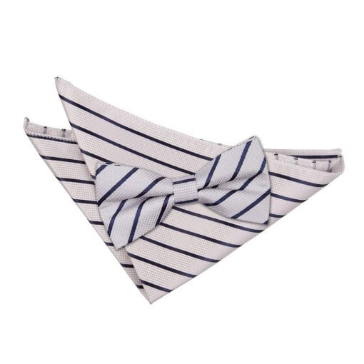 Silver & Navy Single Stripe Bow Tie & Pocket Square Set