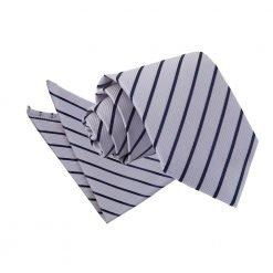 Silver & Navy Single Stripe Tie & Pocket Square Set
