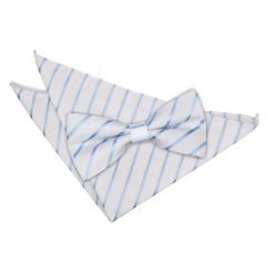 White & Baby Blue Single Stripe Bow Tie & Pocket Square Set