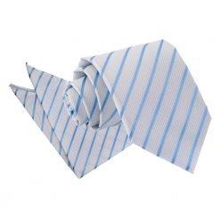White & Baby Blue Single Stripe Tie & Pocket Square Set