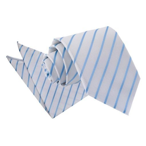 White & Baby Blue Single Stripe Tie & Pocket Square Set