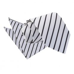 White & Black Single Stripe Tie & Pocket Square Set
