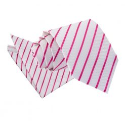 White & Hot Pink Single Stripe Tie & Pocket Square Set