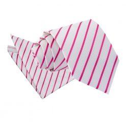 White & Hot Pink Single Stripe Tie & Pocket Square Set