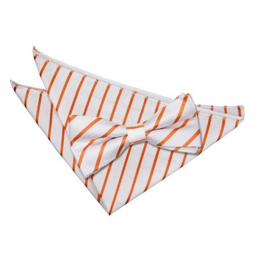 White & Orange Single Stripe Bow Tie & Pocket Square Set