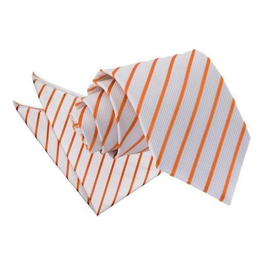 White & Orange Single Stripe Tie & Pocket Square Set