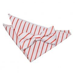 White & Red Single Stripe Bow Tie & Pocket Square Set