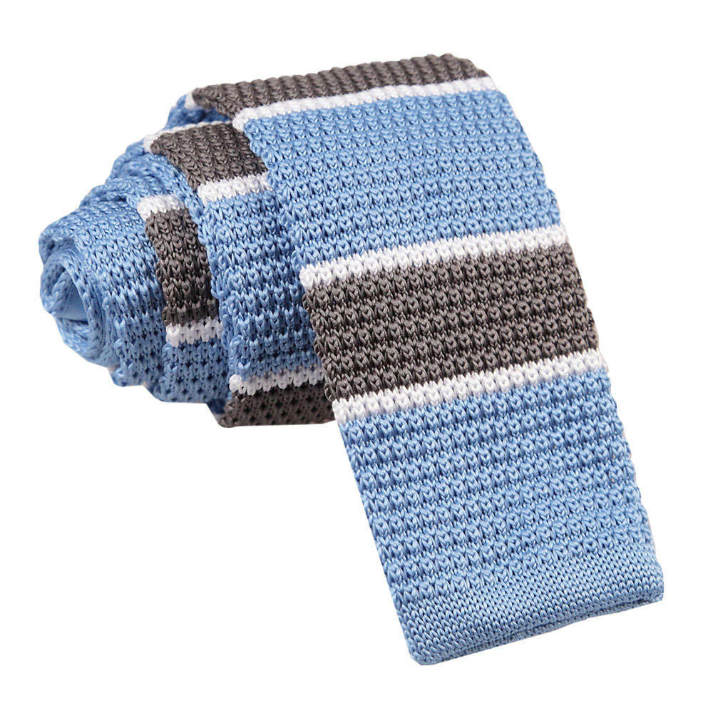 DQT Knit Knitted Plain Solid Baby Blue Casual Mens Skinny Tie