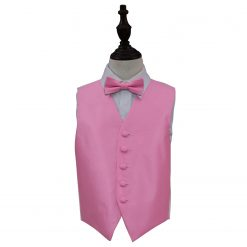 Light Pink Solid Check Wedding Waistcoat & Bow Tie Set for Boys