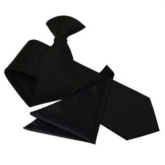 Black Solid Check Clip On Slim Tie & Pocket Square Set
