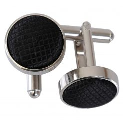 Black Solid Check Cufflinks