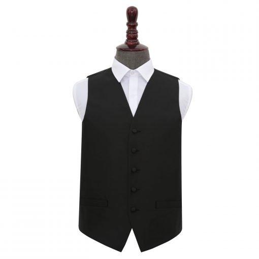 Black Solid Check Wedding Waistcoat
