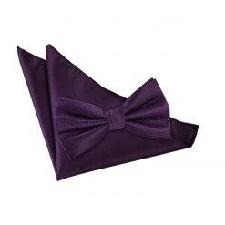Cadbury Purple Solid Check Bow Tie & Pocket Square Set