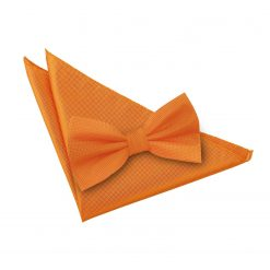 Celosia Orange Solid Check Bow Tie & Pocket Square Set