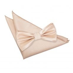 Champagne Solid Check Bow Tie & Pocket Square Set