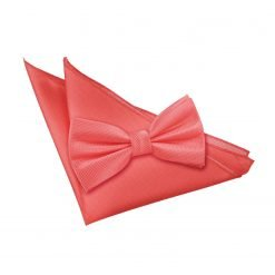 Coral Solid Check Bow Tie & Pocket Square Set