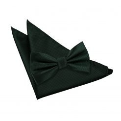 Dark Green Solid Check Bow Tie & Pocket Square Set