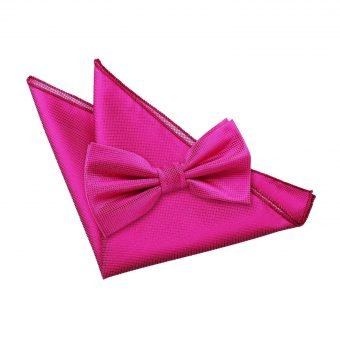 Fuchsia Pink Solid Check Bow Tie & Pocket Square Set