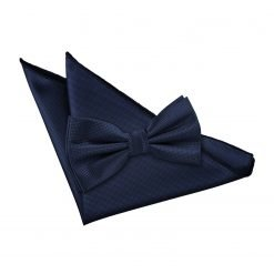 Navy Blue Solid Check Bow Tie & Pocket Square Set