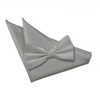 Silver Solid Check Bow Tie & Pocket Square Set
