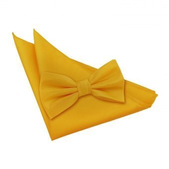 Sunflower Gold Solid Check Bow Tie & Pocket Square Set