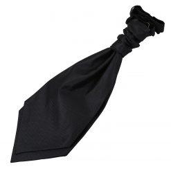 Black Solid Check Pre-Tied Wedding Cravat for Boys