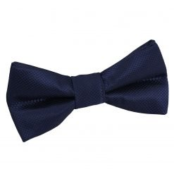 Navy Blue Solid Check Pre-Tied Bow Tie for Boys
