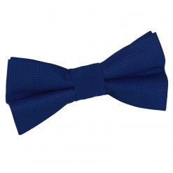 Royal Blue Solid Check Pre-Tied Bow Tie for Boys