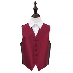 Burgundy Solid Check Wedding Waistcoat for Boys