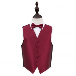 Burgundy Solid Check Wedding Waistcoat & Bow Tie Set for Boys