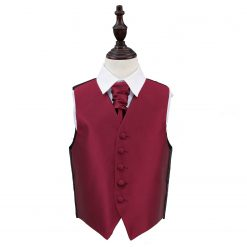 Burgundy Solid Check Wedding Waistcoat & Cravat Set for Boys