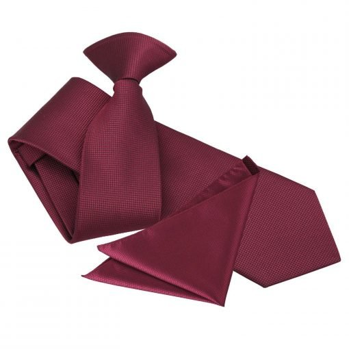 Burgundy Solid Check Clip On Slim Tie & Pocket Square Set