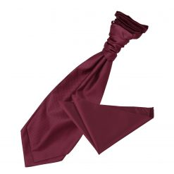 Burgundy Solid Check Wedding Cravat & Pocket Square Set