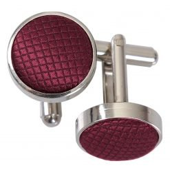 Burgundy Solid Check Cufflinks